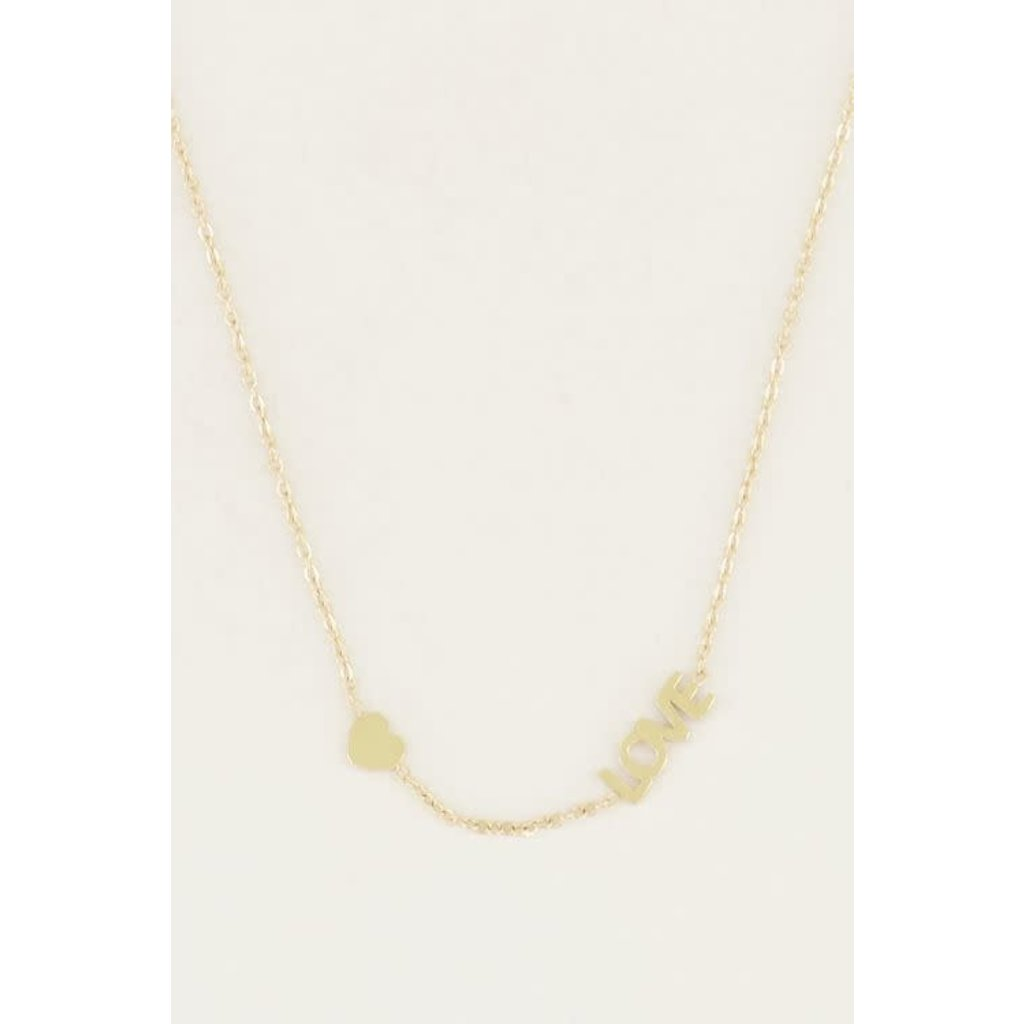 My Jewellery Ketting met love en hartje goud