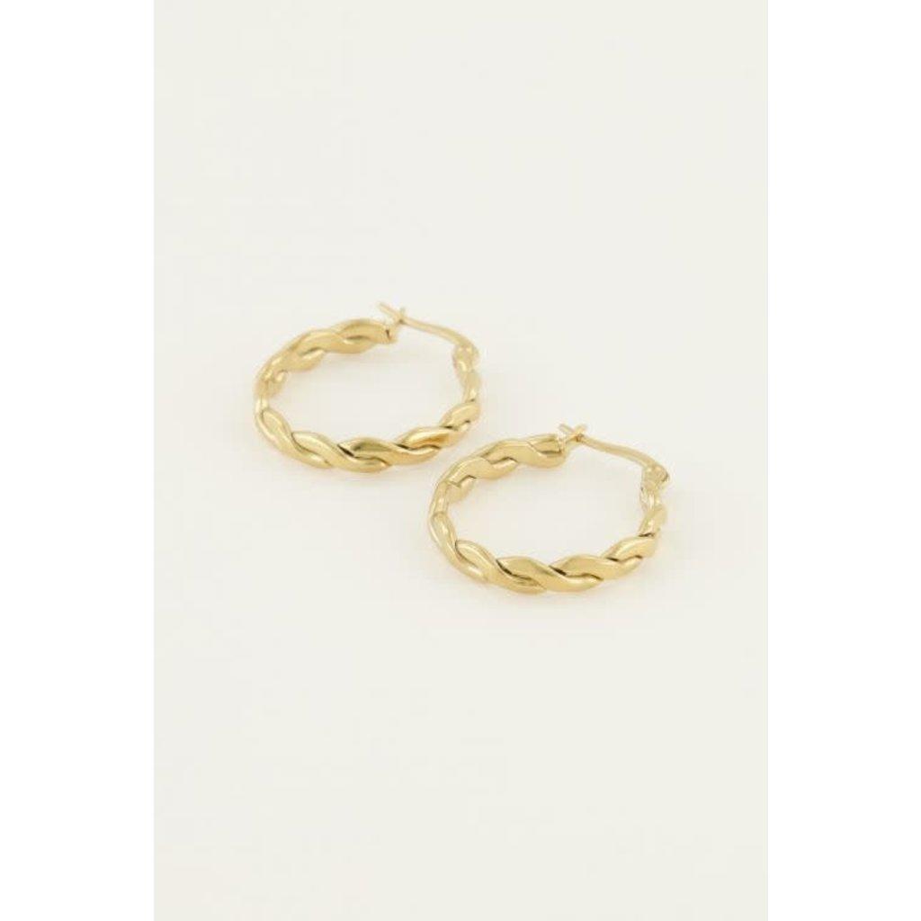 My Jewellery My Jewellery Oorringen rond touwpatroon goud
