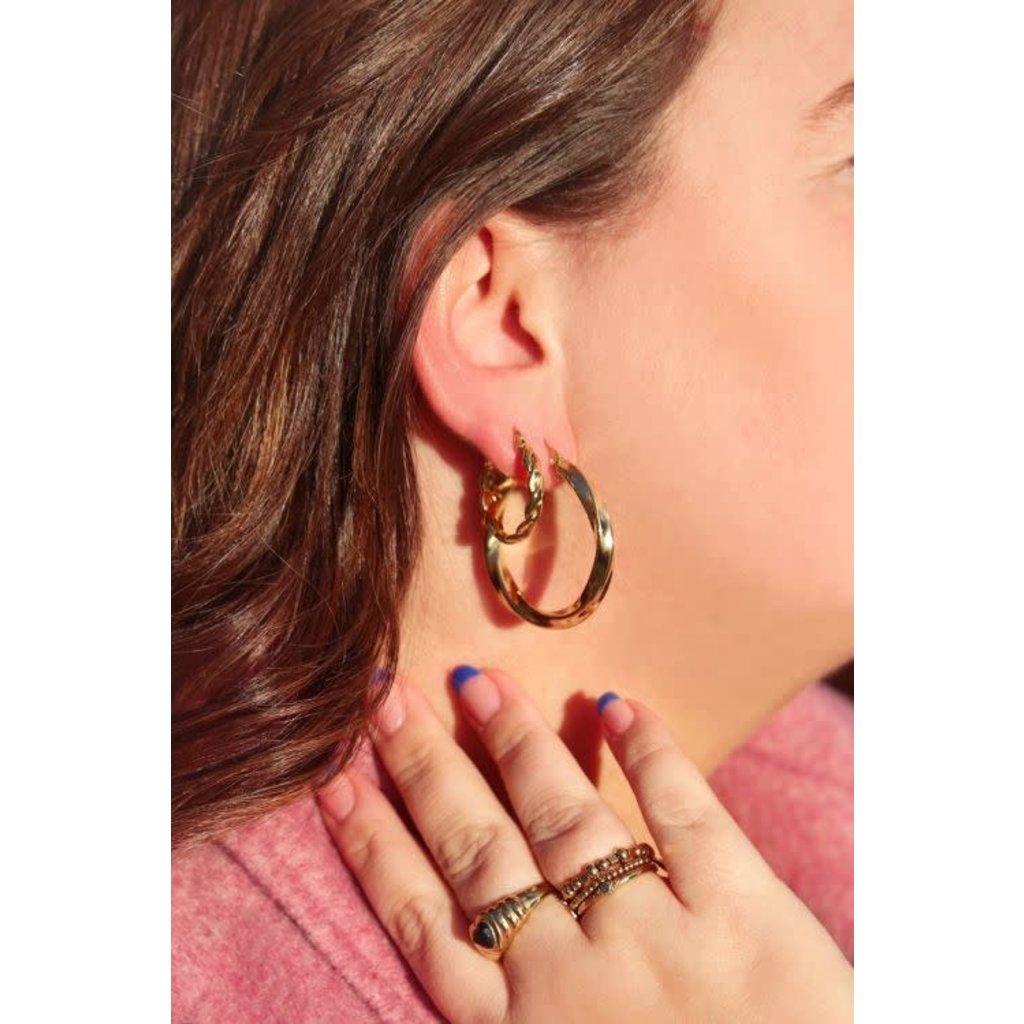 My Jewellery Oorringen rond touwpatroon goud