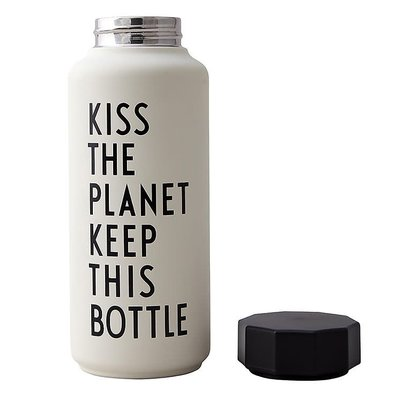 Design Letters Thermo/Geïsoleerde fles, Special Edition Kiss the planet wit