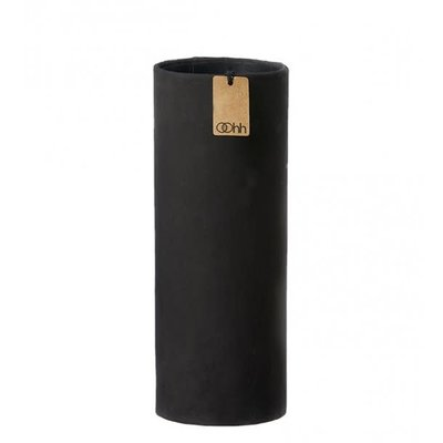 Oohh Art cylinder with cement finish, Zwart