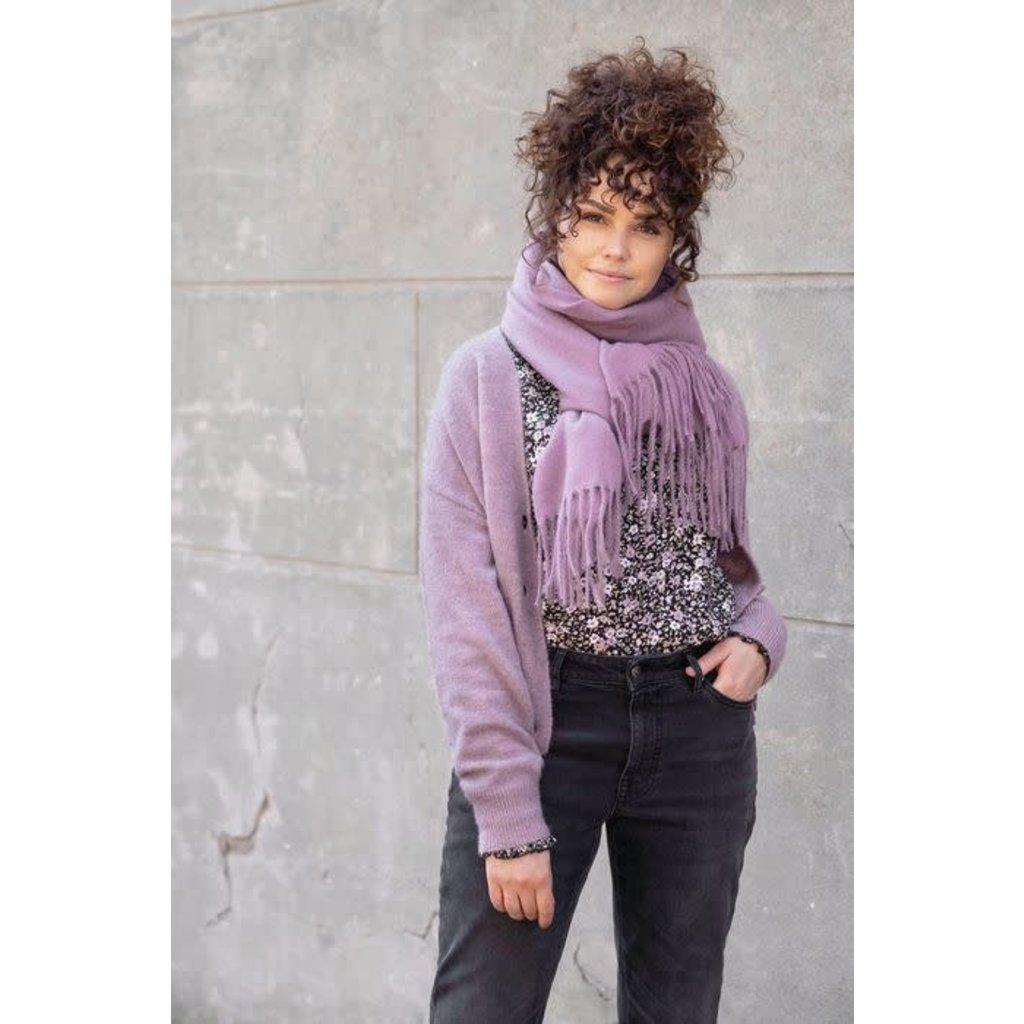 Zusss Basic sjaal met franjes lila