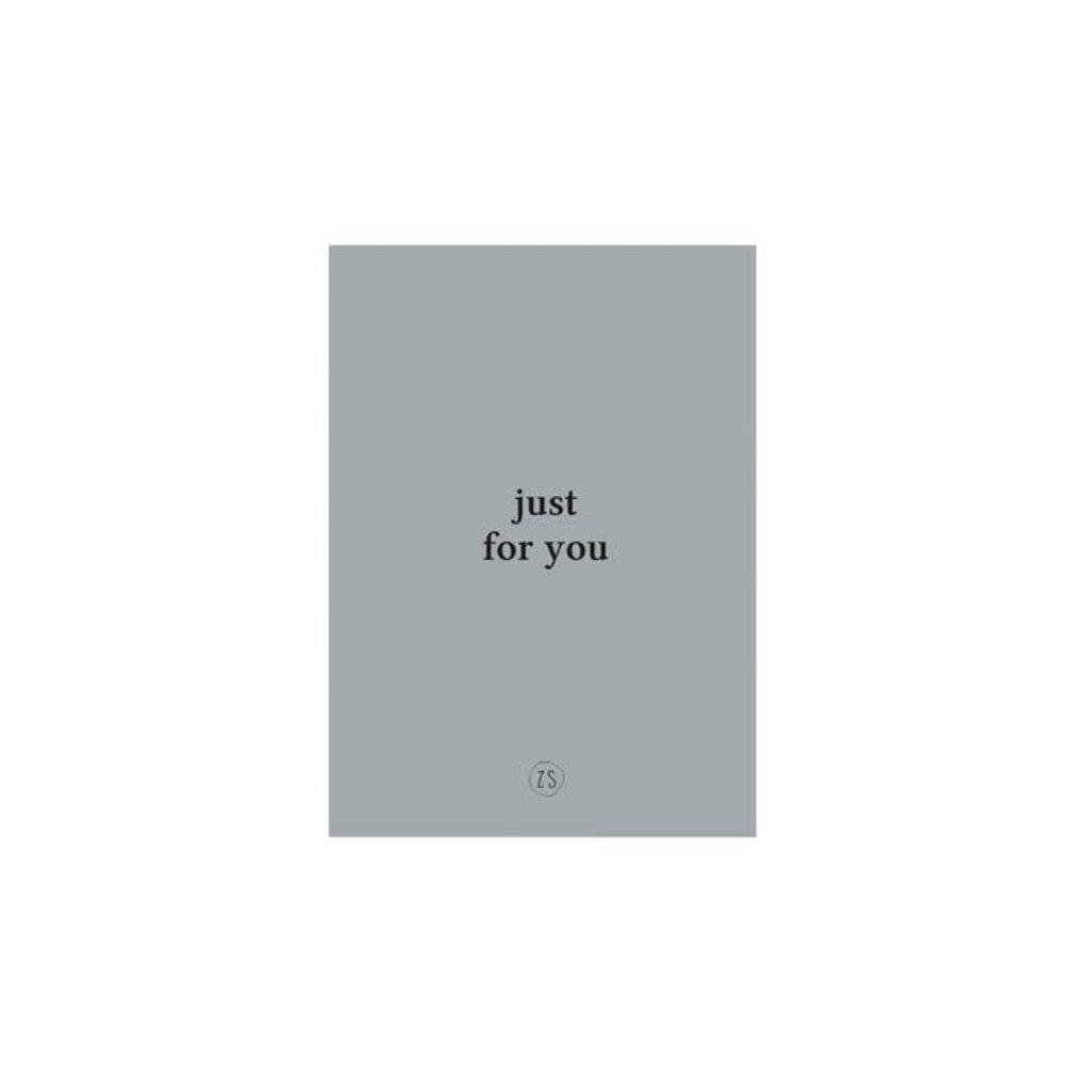 """Zusss Kaart """"Just for you"""" grijs-blauw"""
