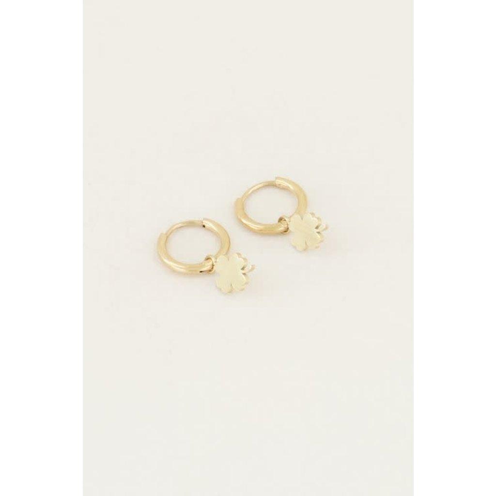 My Jewellery Oorringen met klavertje goud