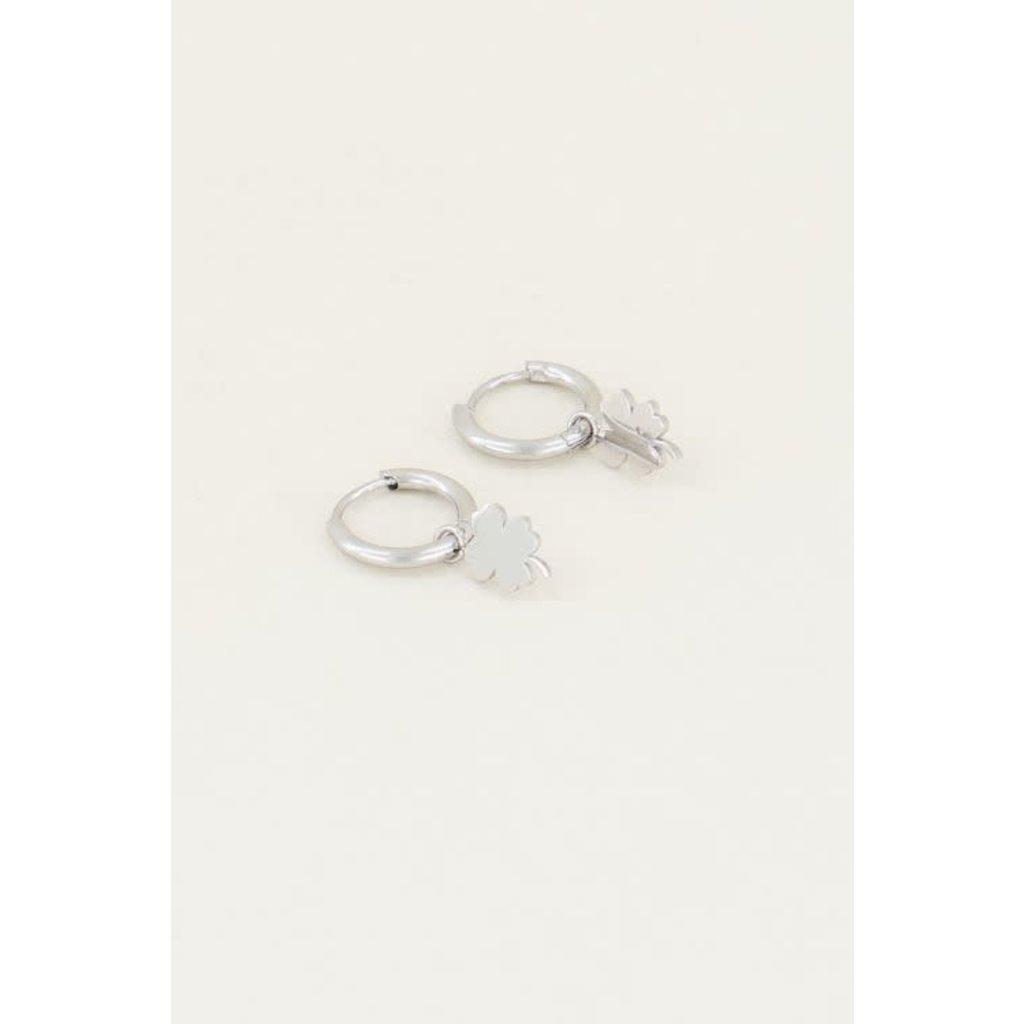 My Jewellery Oorringen met klavertje zilver