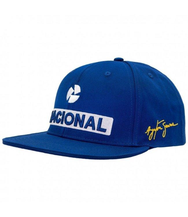 Ayrton Senna Flat Brim Cap Nacional Blue Adult Fan Collection