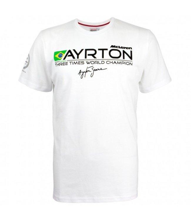 Ayrton Senna McLaren 3 Times World Champion Tribute Adult Tee - Senna Foundation Collection