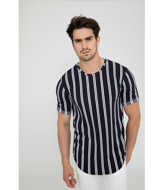 STRIPED T-SHIRT - NAVY BLUE