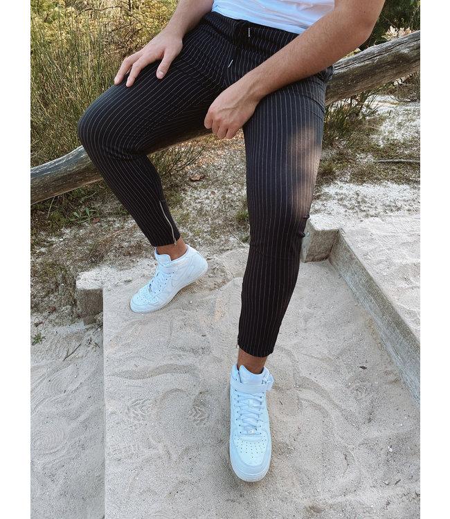 STRIPED PANTS - BLACK