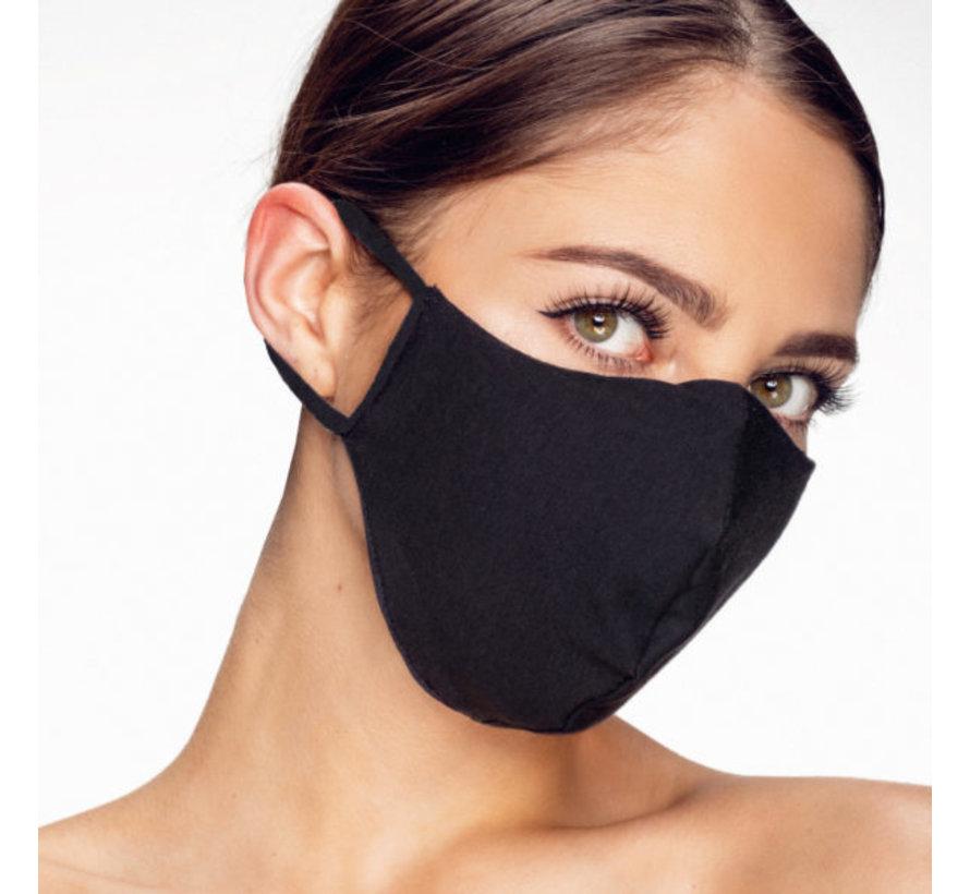 Zwarte mondkapjes - wasbaar - 3D voorgevormd