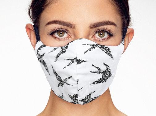 Street Wear Mask Washable Birds on White - M09