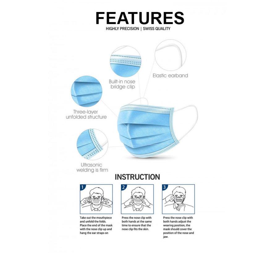 150 mondkapjes verpakt per 50 stuks in een disposable doos x3 dozen (GB/T 32610-2016)