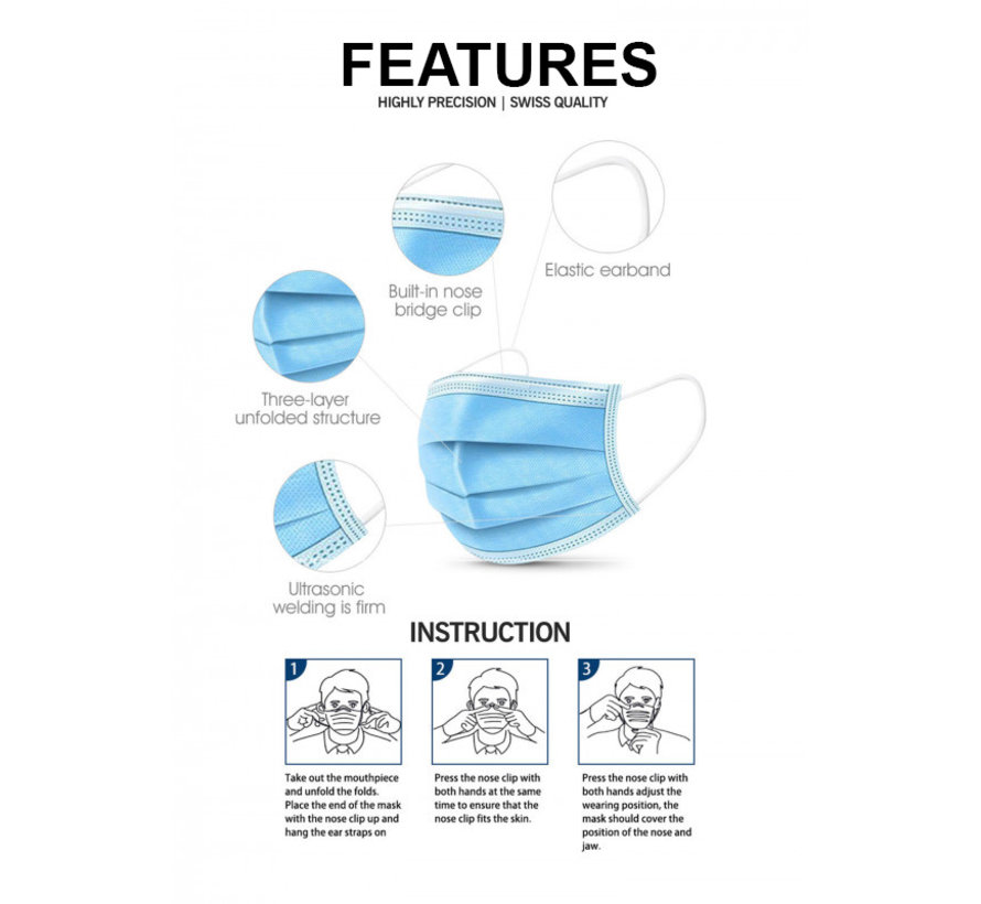 Surgical masks packed in a box 20 pack