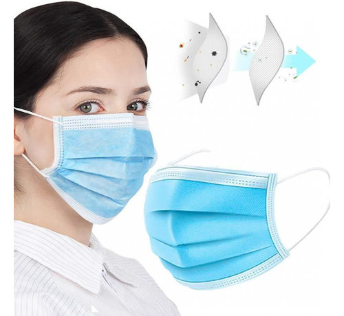 Mondkapjes.nl 1000 Surgical masks packed  in boxes of 50  (GB/T 32610-2016)