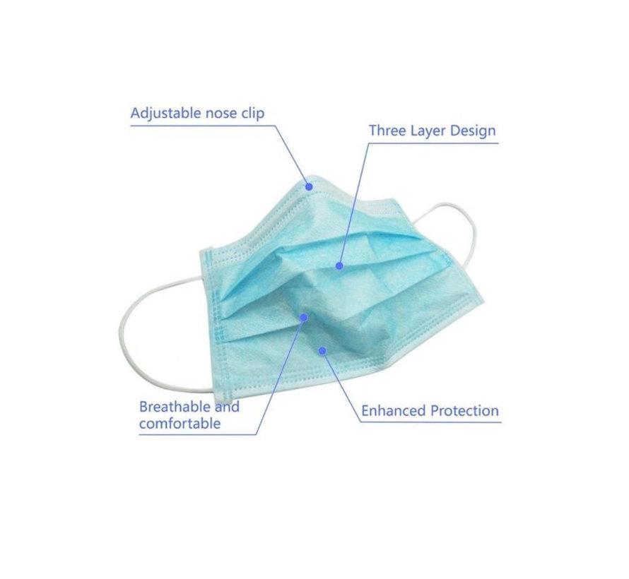 1000 mondkapjes verpakt per 50 stuks in een disposable doos (GB/T 32610-2016)