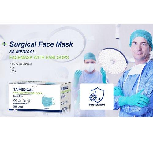 Mondkapjes.nl Medische Chirurgische Mondmaskers IIR Blauw | 3A Medical | 50-Pack