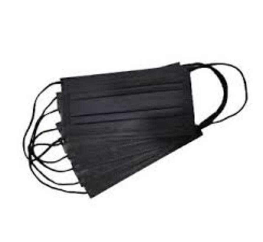 Zwarte mondkapjes in doos (50stuks)