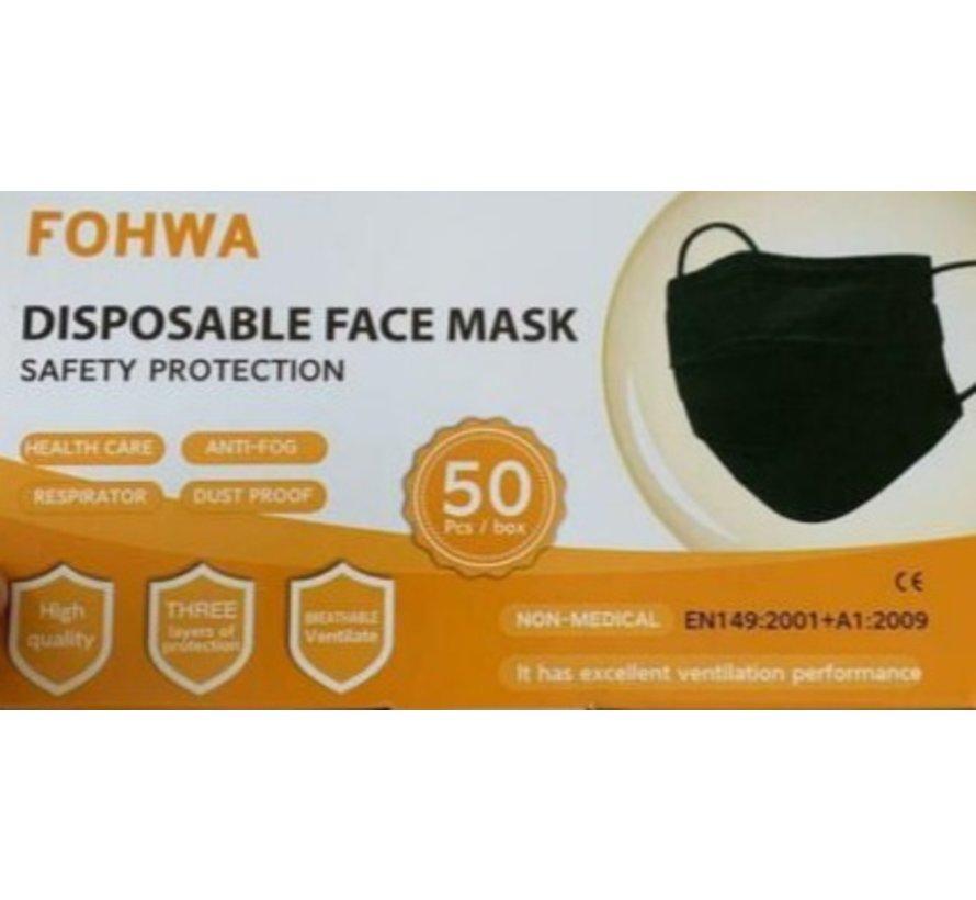 3 Laags Chirurgische Mondkapjes Zwart | Fohwa | 50 pack