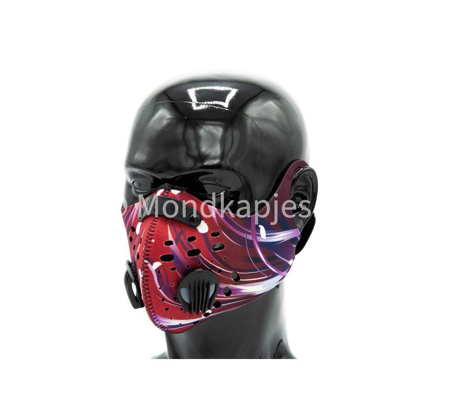 Stoffen Trainingsmasker | Red Abstract | AP | Dubbel ventiel | Single