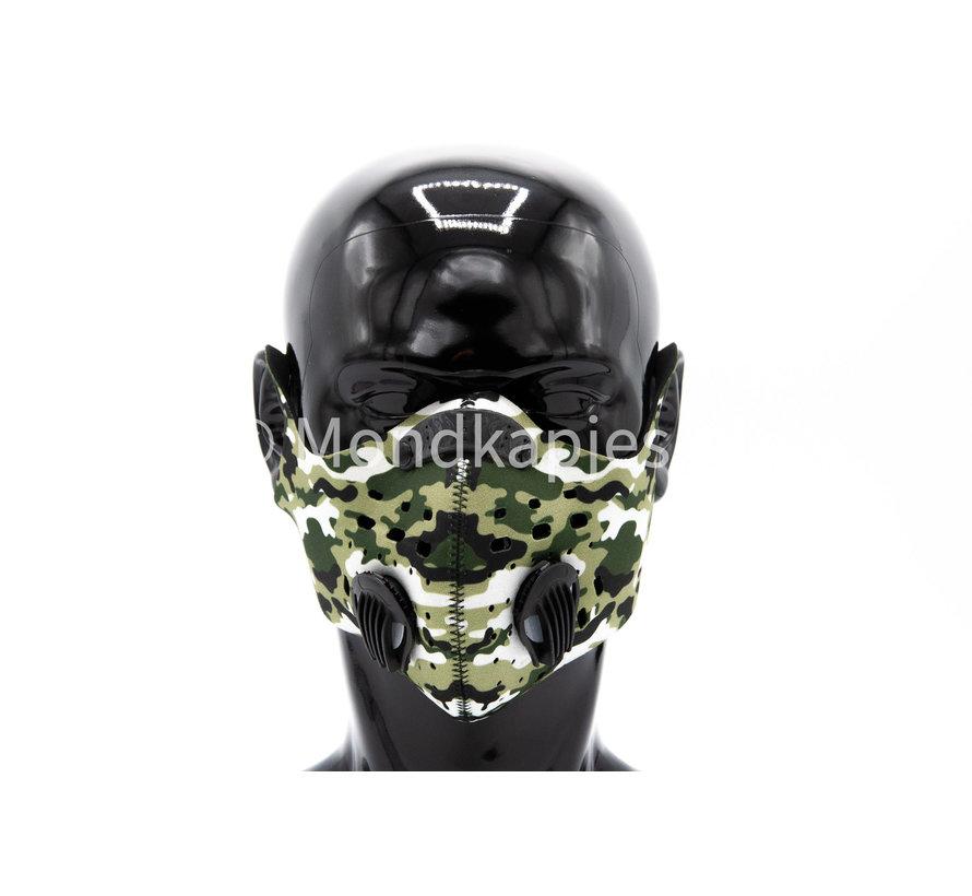 Stoffen Trainingsmasker | Army Black | AP | Dubbel ventiel | Single