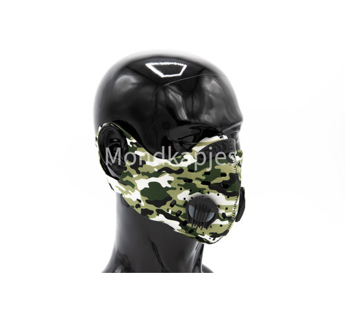 Mondkapjes.nl Stoffen Trainingsmasker | Army Black | AP | Dubbel ventiel | Single