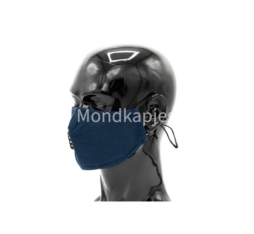Stoffen Mondkapje   Effen Blauw   AP   Met ventiel   Single pack