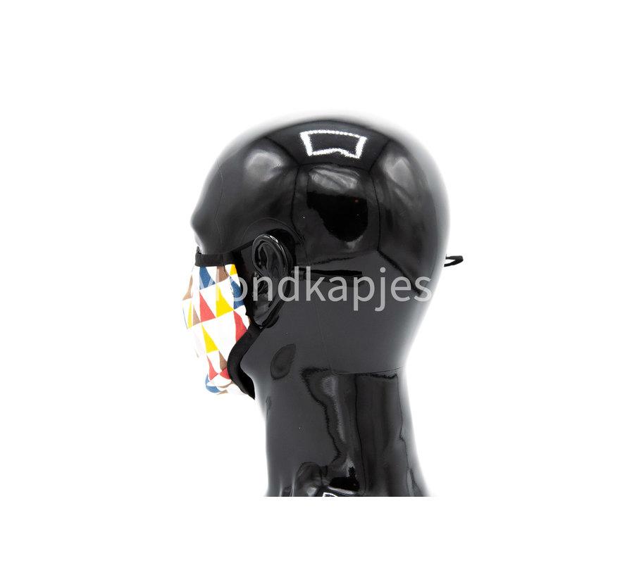 Stoffen Mondkapje | Driehoeken | AP | Zonder ventiel | Single pack