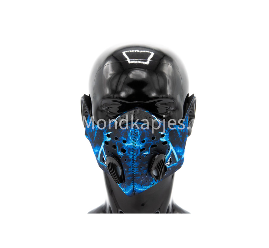 Stoffen Trainingsmasker | Blue Flame-B| AP | Dubbel ventiel | Single