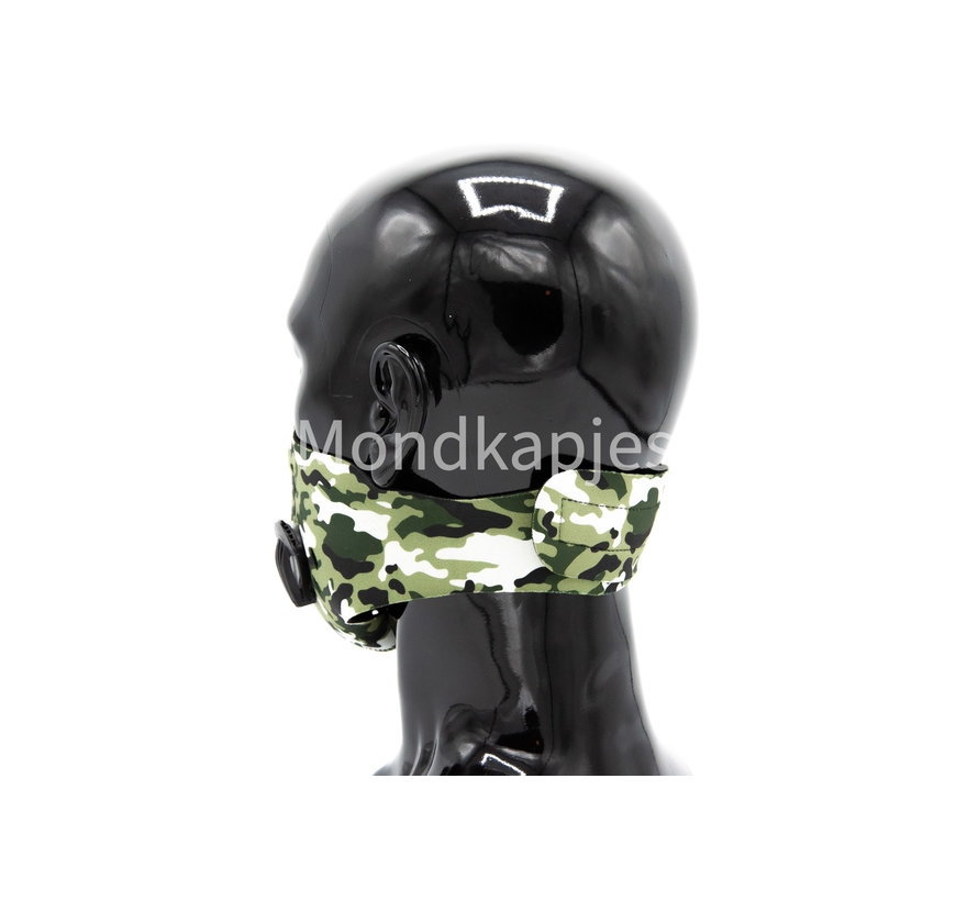 Stoffen Trainingsmasker | Army White | AP | Dubbel ventiel | Single