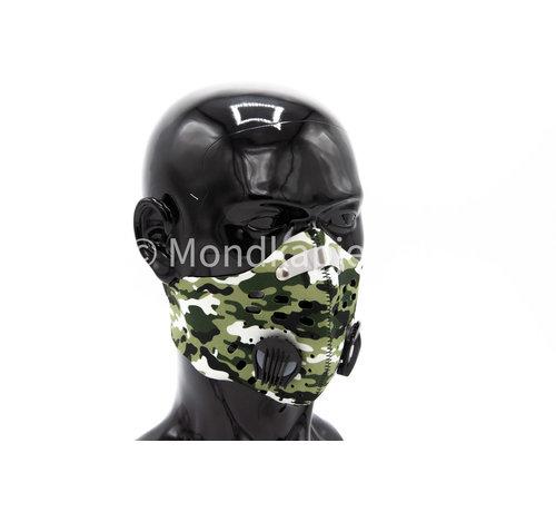Mondkapjes.nl Stoffen Trainingsmasker | Army White | AP | Dubbel ventiel | Single