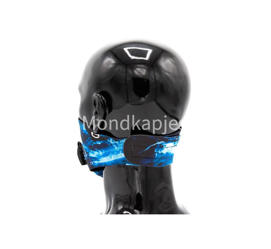 Stoffen Trainingsmasker | Blue Flame-W| AP | Dubbel ventiel | Single