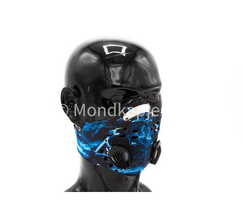 Mondkapjes.nl Stoffen Trainingsmasker | Blue Flame-W| AP | Dubbel ventiel | Single