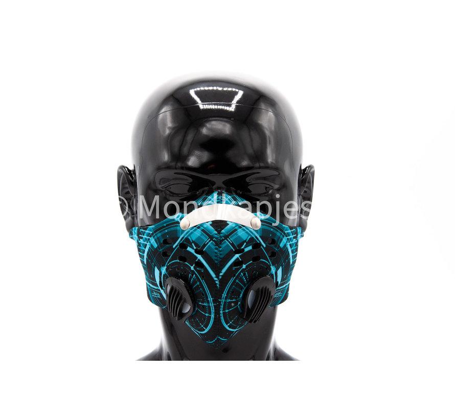 Stoffen Trainingsmasker | Cyaan tech| AP | Dubbel ventiel | Single