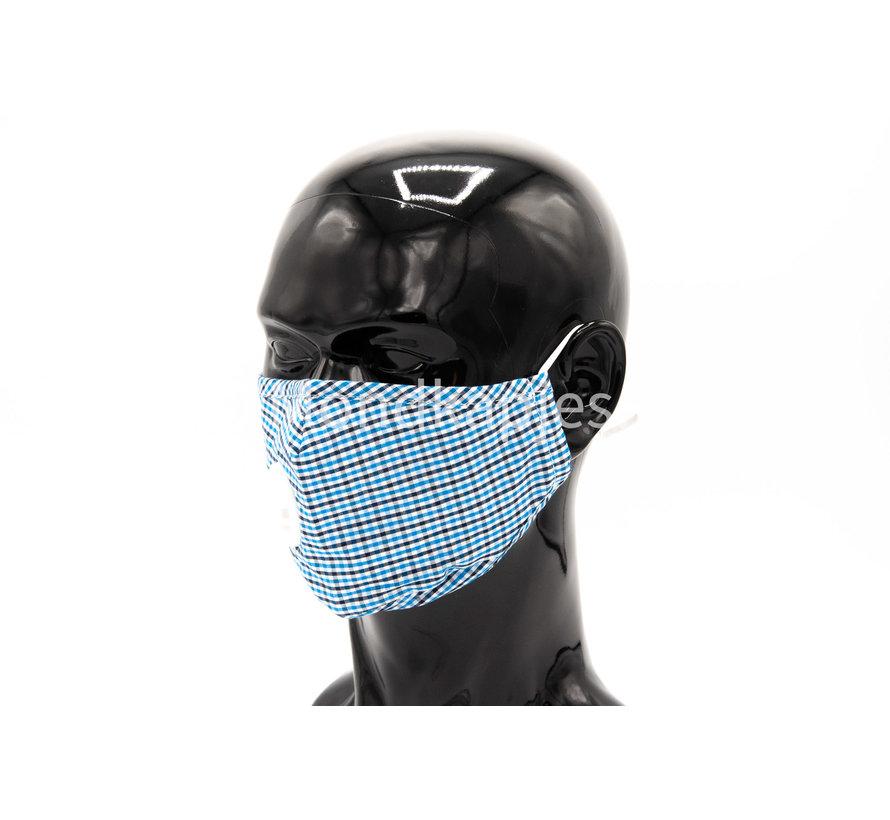 Stoffen Mondkapje | Geruit Blauw  | AP | Met ventiel | Single pack