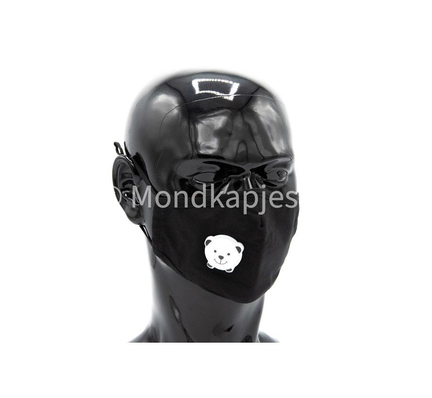 Stoffen Mondkapje voor kinderen    Zwart   AP   Met leuk ventiel  1x
