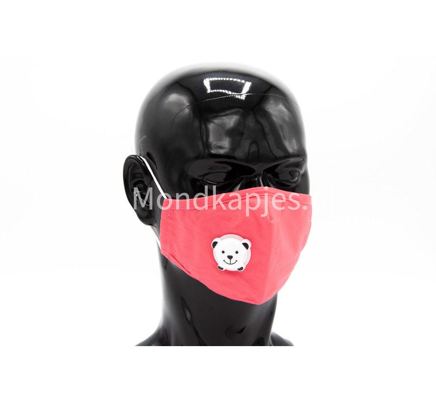Stoffen Mondkapje voor kinderen  | Roze | AP | Met leuk ventiel |1x