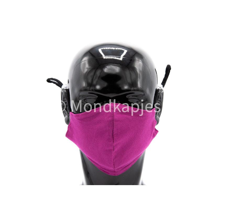 Wasbaar beschermend katoenen mondkapje - 3D voorgevormd - Paars