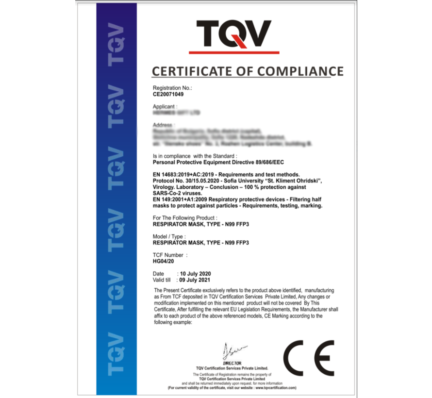 FFP3 N99 NR masker met ventiel - EN 149:2001+A1:2009 CE - MADE IN EU