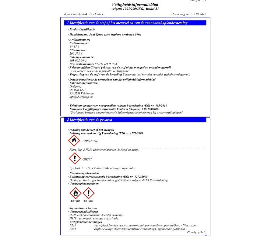 Desinfectie Spray | Sani Spray | Geparfumeerde  Desinfectie | 50ML