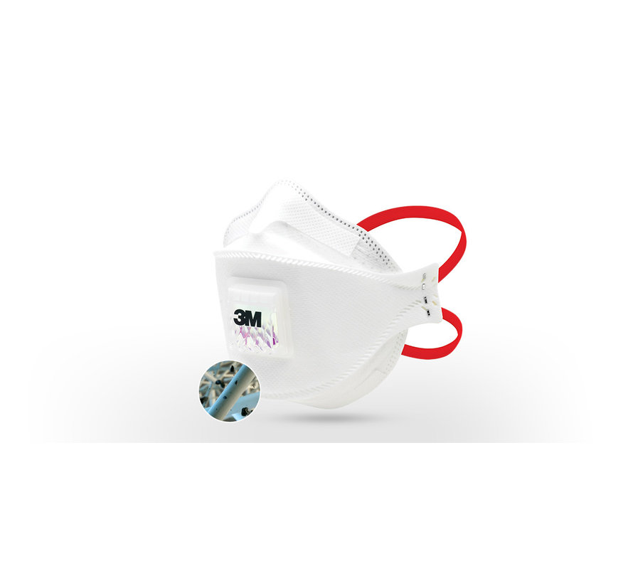 10 stuks - 3M Aura FFP3 mondneusmasker met rode bandjes