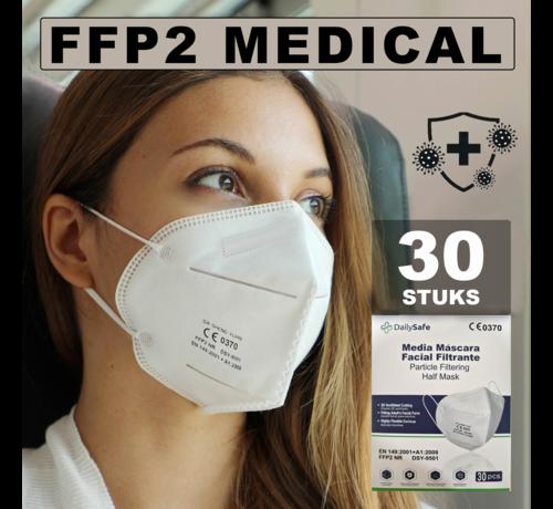Medical NR 30 stuks Dailysafe FFP2 NR medisch EN 149:2001 +A1:2009 gecertificeerd