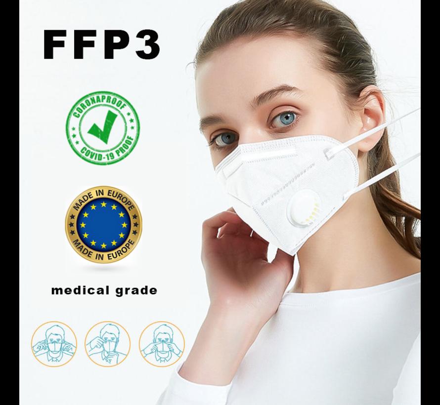 FFP3 N99 NR masker with valve - EN 149:2001+A1:2009 CE - MADE IN EU