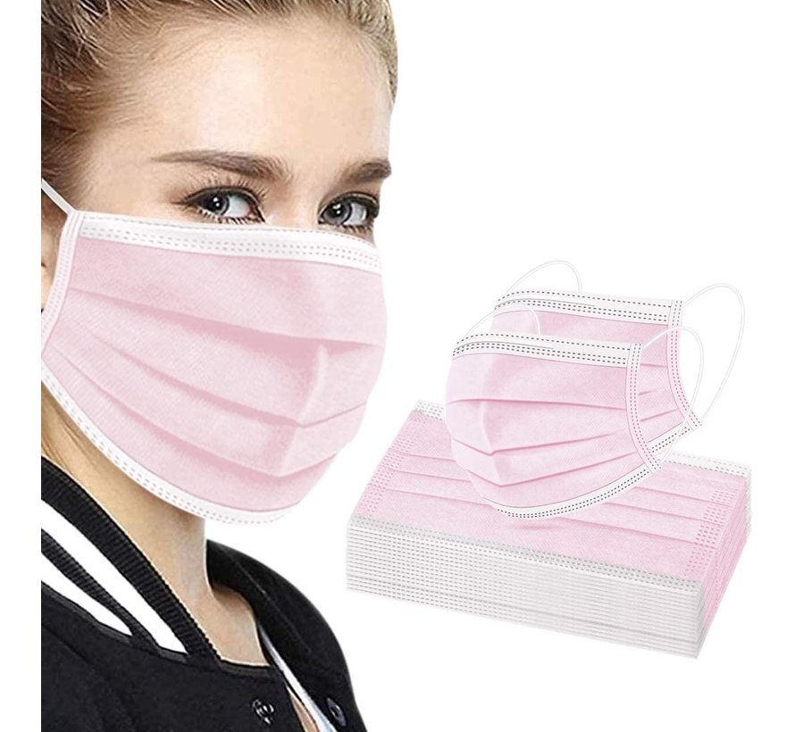 50 pieces Pink Face Masks