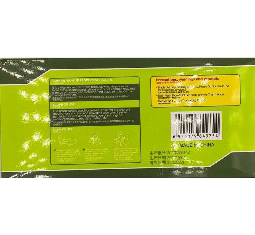 Kindermondkapjes Wit | 3-laags wegwerpmondkapjes | 50x