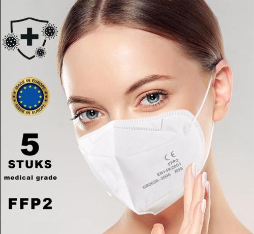 Mondkapjes.nl FFP2 Medische mondkapjes Wit | HG | 5 pack