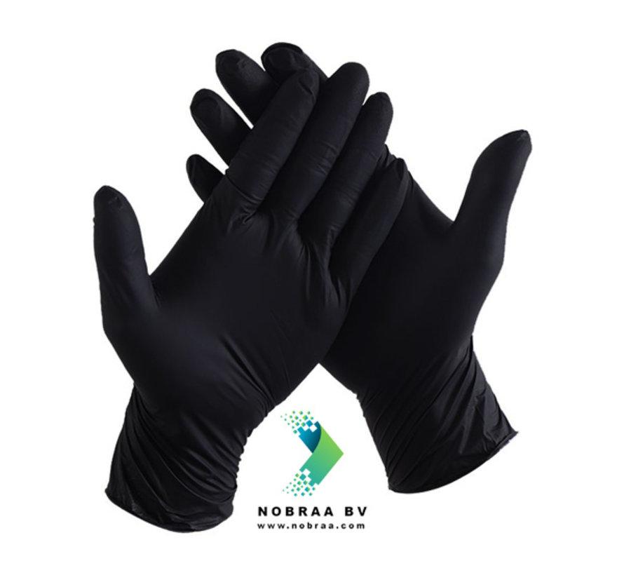 Nitril handschoenen Zwart   Nitras Black wave   100 stuks   Size L