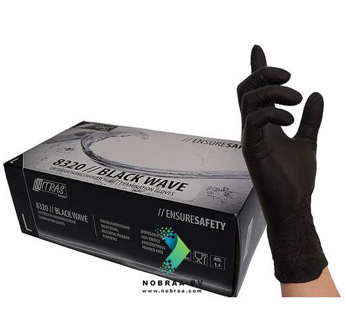 Nitras Nitril handschoenen Zwart   Nitras Black wave   100 stuks   Size L