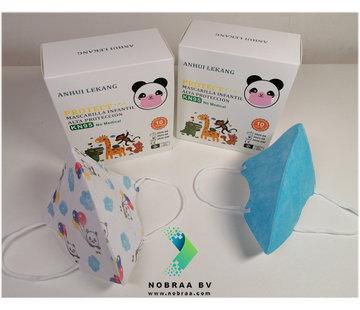 Mondkapjes.nl Kinder Mondkapjes Blauw met print NK95 10x