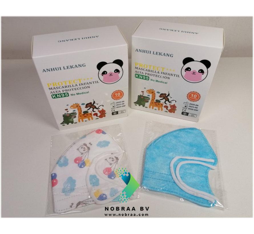 10 pack - Anle KN95 Kids or teen masks Blue -  4-layer facemask  - FFP2