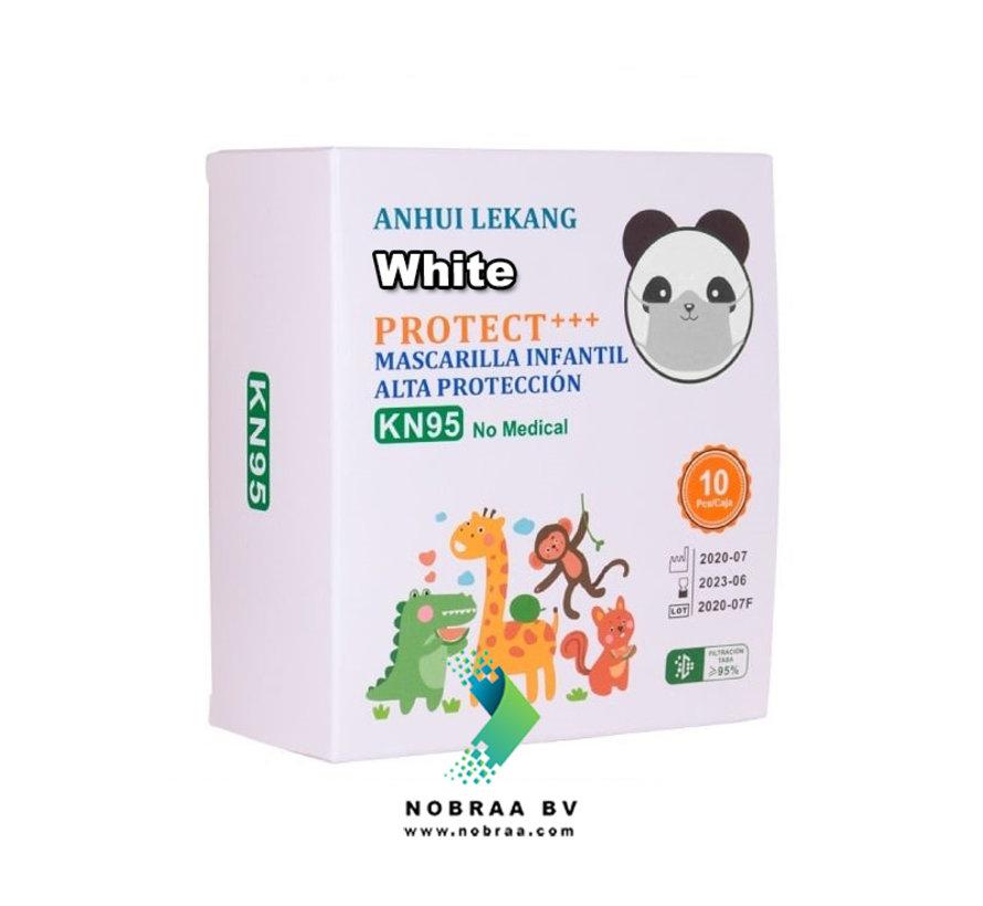 KN95 4 laags Kids & Tiener Mondkapjes Wit met print   Anle   10 stuks